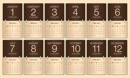2016 year calendar. Simple calendar for 2016 year Royalty Free Stock Photography