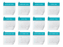 2016 year calendar. Simple calendar for 2016 year Royalty Free Stock Photo
