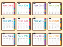 2016 year calendar. Simple calendar for 2016 year Royalty Free Stock Image