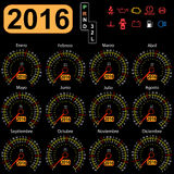 2016 year calendar speedometer car in Spanish. Vector illustration stock illustration