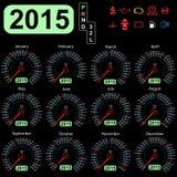2015 year calendar speedometer car Stock Images