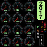 Year 2017 calendar speedometer car in vector.  Stock Photos