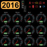 Year calendar speedometer car.  Vector Royalty Free Stock Image