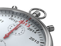 Year calendar on stopwatch. 3D image Royalty Free Stock Image