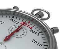 Year calendar on stopwatch. 3D image Royalty Free Stock Photo