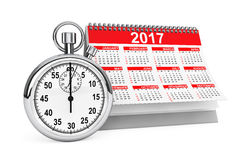 2017 year calendar with stopwatch. 3d Rendering Royalty Free Stock Photos