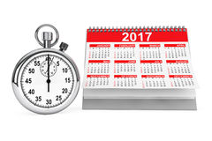 2017 year calendar with stopwatch. 3d Rendering Royalty Free Stock Photo