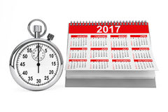 2018 year calendar with stopwatch. 3d Rendering. 2018 year calendar with stopwatch on a white background. 3d Rendering Stock Photography