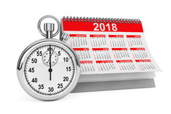 2018 year calendar with stopwatch. 3d Rendering. 2018 year calendar with stopwatch on a white background. 3d Rendering Royalty Free Stock Photography