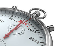 Year calendar on stopwatch. Isolated 3D. Image Stock Image