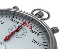 Year calendar on stopwatch. Isolated 3D image Royalty Free Stock Photo