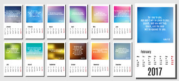 2017 year calendar with subtle backgrounds, Bible quotes and verses. Design template, vector Royalty Free Stock Photography