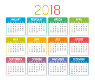 Year 2018 calendar  template. Colorful year 2018 calendar isolated on a white background Stock Images