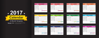 Year 2017 calendar template with space for photo insert vector i Stock Images