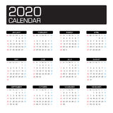 2020 year calendar. Template vector Royalty Free Stock Image