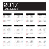 2017 year calendar. Template vector Royalty Free Stock Images