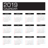 2019 year calendar. Template vector Royalty Free Stock Image