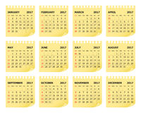Year 2017 Calendar vector design. Simple and clean design Royalty Free Stock Images