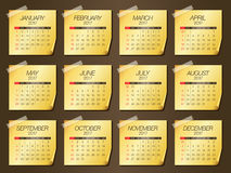 Year 2017 Calendar vector design. Simple and clean design Royalty Free Stock Photo