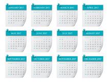 Year 2017 Calendar vector design. Simple and clean design Stock Photography