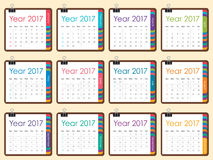 Year 2017 Calendar vector design. Simple and clean design Royalty Free Stock Photography