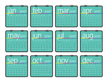 Year 2017 Calendar vector design. Simple and clean design Stock Photo