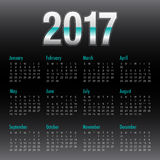 Year 2017 Calendar vector design template. Black color design Stock Images