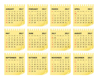 Year 2017 Calendar vector design template. Color design Stock Photo