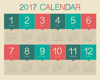 Year 2017 Calendar vector design template. Colorful design Stock Photography