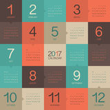 Year 2017 Calendar vector design template. Colorful design Royalty Free Stock Photos