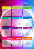 Year 2017 Calendar vector design template. Colorful design Royalty Free Stock Image