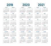 Year 2019 2020 2021 calendar vector. Design template. Compound planner with blue letters and numbers on a white background. Vector illustration Stock Photo