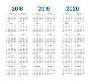 Year 2018 2019 2020 calendar vector. Design template. Compound planner with blue letters and numbers on a white background. Vector illustration Royalty Free Stock Photos