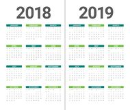 Year 2018 2019 calendar vector. Design template, simple and clean design Royalty Free Stock Photos