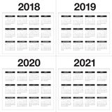 Year 2018 2019 2020 2021 calendar vector. Design template, simple and clean design Royalty Free Stock Photography