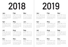 Year 2018 2019 calendar vector. Design template, simple and clean design Stock Images
