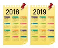 Year 2018 2019 calendar vector. Design template, simple and clean design Stock Photo