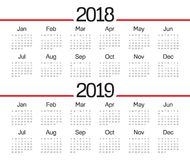Year 2018 2019 calendar vector. Design template, simple and clean design Stock Image
