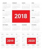 Year 2018 2019 2020 calendar vector. Design template, simple and clean design Stock Images