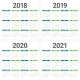 Year 2018 2019 2020 2021 calendar vector. Design template, simple and clean design Royalty Free Stock Photo