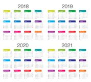 Year 2018 2019 2020 2021 calendar vector. Design template, simple and clean design Stock Images