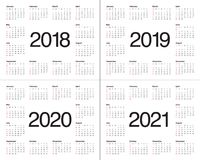 Year 2018 2019 2020 2021 calendar vector. Design template, simple and clean design Stock Photo