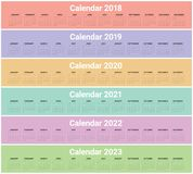 Year 2018 2019 2020 2021 2022 2023 calendar vector. Design template, simple and clean design Royalty Free Stock Images