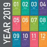 Year 2019 calendar vector design template. Simple and clean design vector illustration