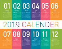 Year 2019 calendar vector design template. Simple and clean design royalty free illustration