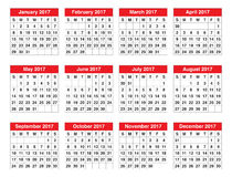 Year 2017 Calendar vector design template. Simple and clean design Royalty Free Stock Photos