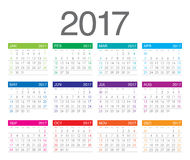 Year 2017 Calendar vector design template. Simple and clean design Stock Images