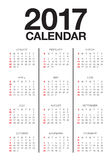 Year 2017 Calendar vector design template. Simple and clean design Stock Photography