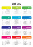 Year 2017 Calendar vector design template. Simple and clean design Stock Photo