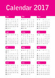 Year 2017 Calendar vector design template. Simple and clean design Royalty Free Stock Images